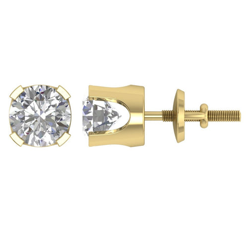 Yellow Gold Round Cut Diamond Earring-DST16-0.30