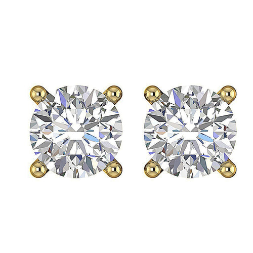 I1 G 0.75 Ct Solitaire Studs Earrings 14k / 18k Gold Natural Round Ideal Cut Diamonds