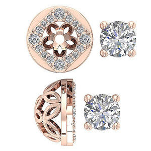 Halo Studs Natural Diamond Vintage Earring-DE170