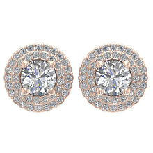 Load image into Gallery viewer, Designer Halo Solitaire Studs Earrings I1 G 1.50 Ct 14k/18k Solid Gold Round Diamonds Prong Set