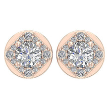 Load image into Gallery viewer, Solitaire 14k-18k Rose Gold Earring-DE170