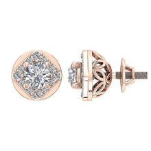 Load image into Gallery viewer, Natural Diamond 14k-18k Rose Gold Earring-DE170