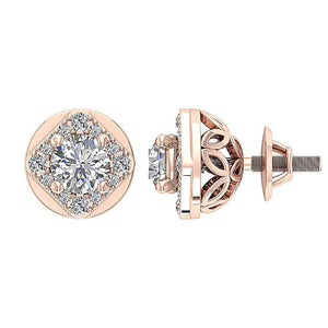 Natural Diamond 14k-18k Rose Gold Earring-DE170