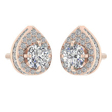 Load image into Gallery viewer, Round Cut Diamond Rose Gold Earring-DE173-4
