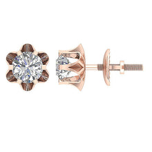 Load image into Gallery viewer, I1 G 0.55Ct Designer Solitaire Studs Earrings 14k/18k Solid Gold Natural Diamond