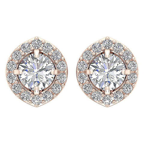 Top View Rose Gold Genuine Diamond Earring-E-782-4