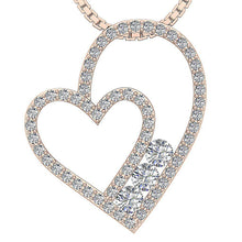 Load image into Gallery viewer, Heart Pendants I1 G 0.75 Ct 14k/18k White Yellow Rose Gold Pave Set Natural Diamond