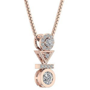 14k-18k Rose Gold Round Cut Diamond Pendants-DP403