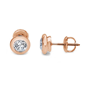 Natural Diamond Side View 14k-18k Rose Gold Earring-DST101-0.50CT