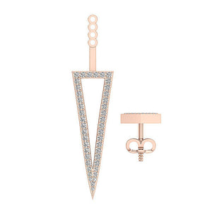 Round Cut Diamond Rose Gold Studs Earring-E-780-11