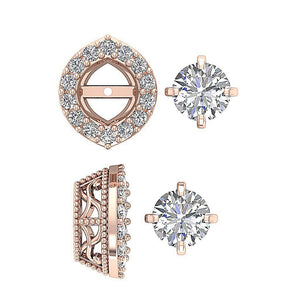 Designer Rose Gold Prong Set Stud Earring-E-782-14