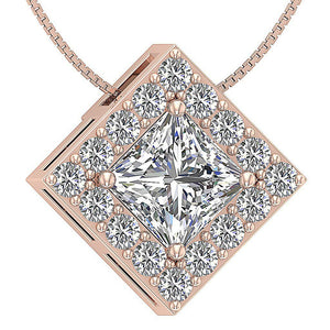 Round Cut Diamond Halo Pendants-DP419