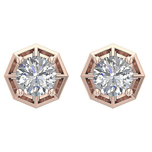 Designer Solitaire Studs Earrings Natural Diamonds I1 G 0.55 Ct 14k/18k Solid Gold