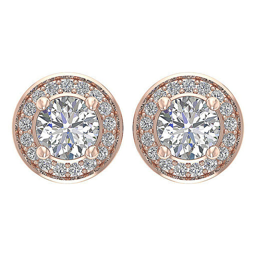 14k/18k Rose Gold Round Diamond I1 G 1.30Ct Removable Jacket Halo Solitaire Stud Earring Prong Set