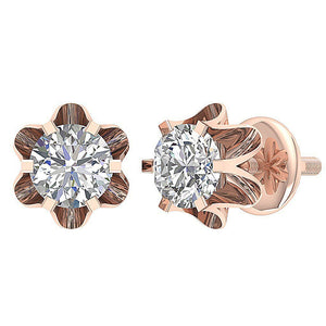 Prong Setting Diamonds Earrings-DE191