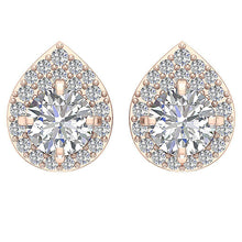 Load image into Gallery viewer, Rose Gold Removable Jacket Stud Earring Top View-DE173-7