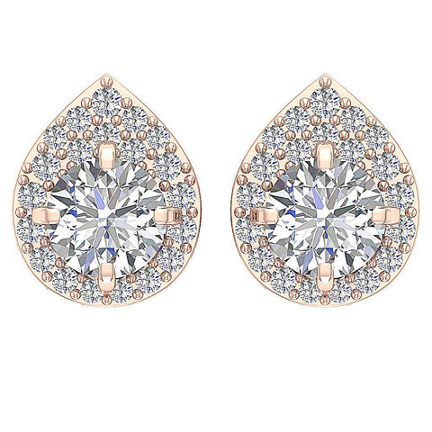 Rose Gold Removable Jacket Stud Earring Top View-DE173-7