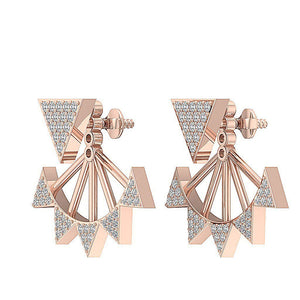 14k/18k Solid Gold Natural Diamonds I1 H 0.55 Ct Removable Jacket Studs Earrings Prong Set 20.88MM