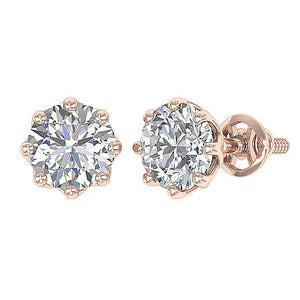 14k-18k Rose Gold Screw Back Earrings-DST102