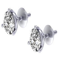 Load image into Gallery viewer, 14k/18k White Gold Round Cut Diamonds Solitaire Studs Earrings I1 G 1.01Ct Martini Prong Set 4.90MM