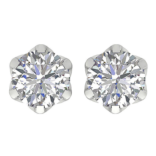 Designer Solitaire Studs Earrings 14k/18k Solid Gold Round Cut Diamonds I1 G 1.00 Ct