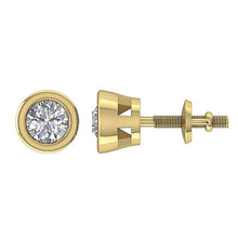 Load image into Gallery viewer, 14k-18k Yellow Gold Bezel Set Side View Studs Earring-DST45-0.55CT