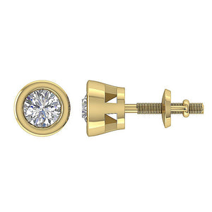 14k-18k Yellow Gold Bezel Set Side View Studs Earring-DST45-0.55CT