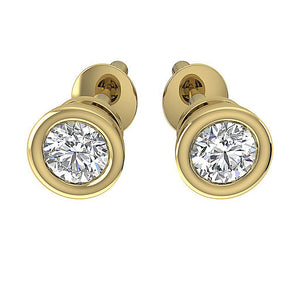 14k-18k Yellow Gold Bezel Set Studs Earring-DST45-0.55CT