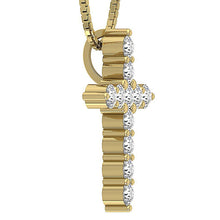 Load image into Gallery viewer, Designer Cross Pendants Natural Diamond 14k-18k Yellow Gold-P-589