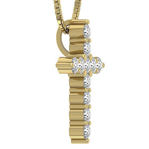 Designer Cross Pendants Natural Diamond 14k-18k Yellow Gold-P-589