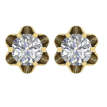 Load image into Gallery viewer, Yellow Gold Stud Earrings-DE191