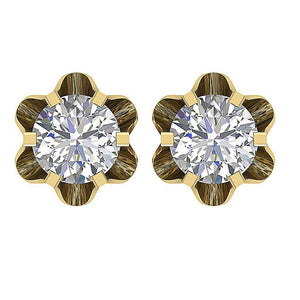 Yellow Gold Stud Earrings-DE191