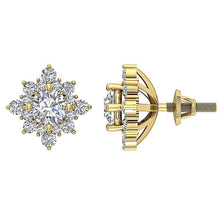 Load image into Gallery viewer, Designer Halo Solitaire Stud Earring 14k/18k Solid Gold Round Diamond SI1 G 1.80Ct