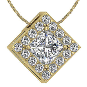 Square Halo Pendants 14k/18k Solid Gold SI1 G 0.75Ct Princess Round Diamond