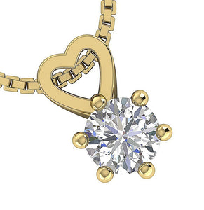 Solitaire Pendants I1 G 0.25Ct 14k/18k White Yellow Rose Gold Natural Diamonds Six Prong Set 4.10MM