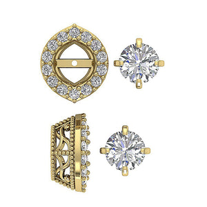 Halo Solitaire Stud Earring 14k-18k Solid Gold-E-782-13