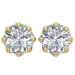 Yellow Gold 8 Prong Set Earring-DST102