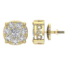 Load image into Gallery viewer, Designer Studs Earrings 14k/18k Solid Gold Natural Diamonds SI1 G 1.50 Ct