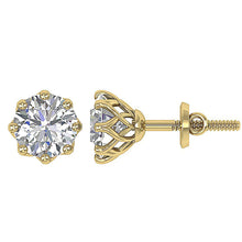 Load image into Gallery viewer, Prong Setting Yellow Gold Earrings-DST102