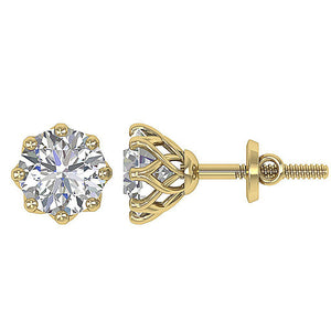 Prong Setting Yellow Gold Earrings-DST102