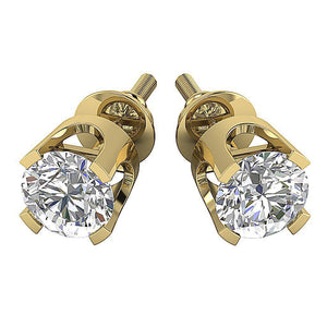 14k-18k Solid Gold Studs Earring Prong Set-DST16-0.30-1