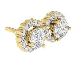 Yellow Gold Prong Set Studs Earring-E-708-4