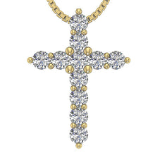Load image into Gallery viewer, 14k-18k Yellow Gold Prong Set Natural Diamond Cross Pendants-P-589