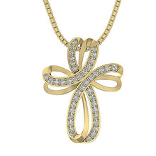 Load image into Gallery viewer, Cross Pendants Pave Set Natural Diamond 14k/18k White Yellow Rose Gold SI1 G 0.60 Ct