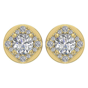 Natural Diamond 14k-18k Yellow Gold Earring-DE170
