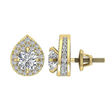 Load image into Gallery viewer, Side View Yellow Gold Round Diamond Earring-DE173