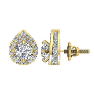 Side View Yellow Gold Round Diamond Earring-DE173