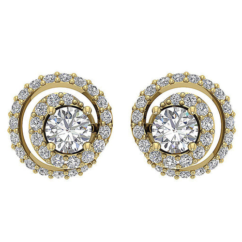 14k/18k Solid Gold Round Diamonds I1 G 1.25Ct Removable Jacket Halo Solitaire Studs Earrings 9.90MM