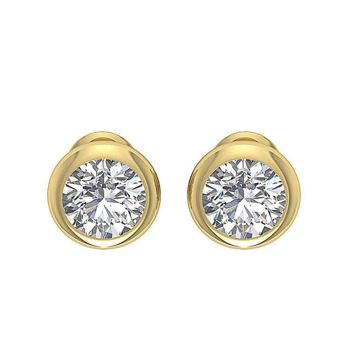 14k-18k Yellow Gold Natural Diamond Bezel Set Earring-DST101-1.40CT
