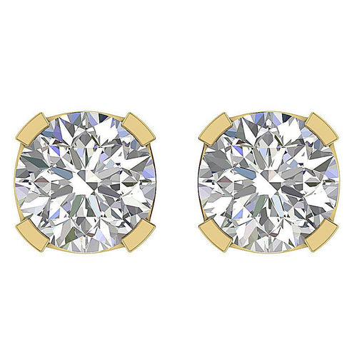Solitaire Studs Earrings Brilliant Round Cut Diamonds I1 G 1.40 Ct 14k/18k Gold